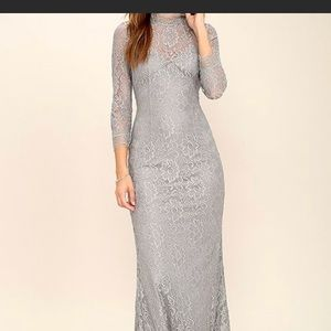 Lulu's light gray lace maxi dress more than love